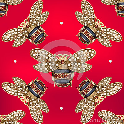 Free Jewelry Of A Fly On A Red Background Royalty Free Stock Image - 99223886