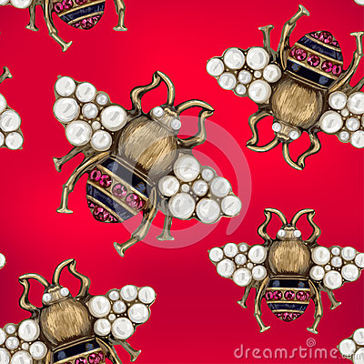 Free Jewelry Of A Fly On A Red Background Stock Image - 99224601