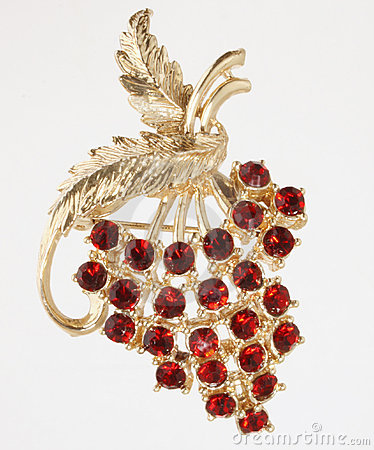 Jewelry Pin with Red Grapes