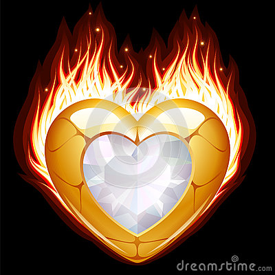 Jewelry in the shape of heart in fire