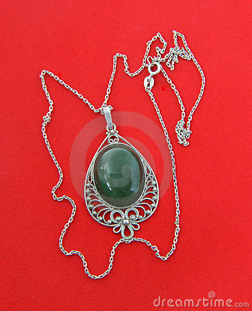 Jewelry from silver with a nephrite