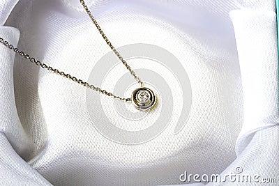 Jewelry single diamond stone necklace white gold