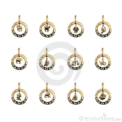 Jewelry - twelve symbols of the zodiac, horoscope