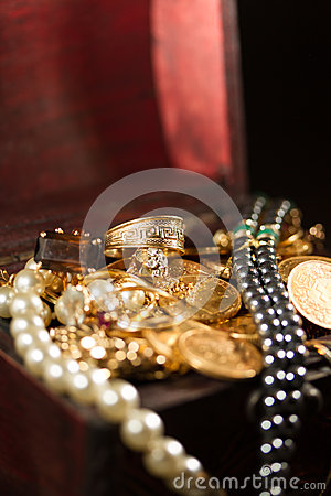 Jewels and gold coins