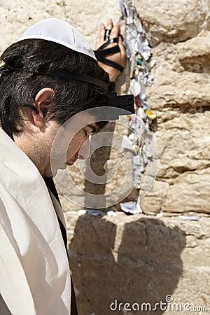 Jewish Man Praying at the Western Wall