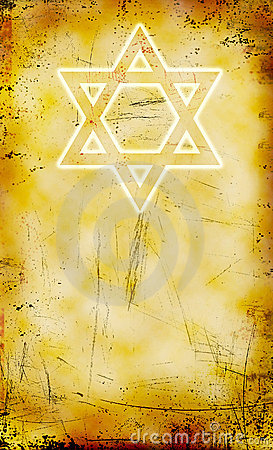 Jewish grunge background with David star