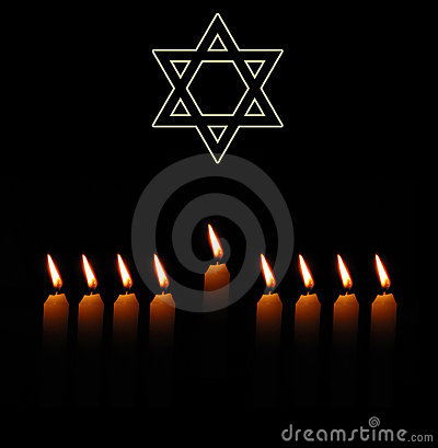 Jewish holiday background with star and candles