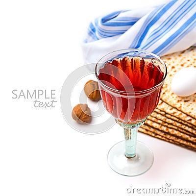 Free Jewish Holiday Passover Celebration With Matzo And Wine On White Background Stock Photo - 49908010