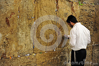 Jewish orthodox  man praying at the western wall Editorial Photography