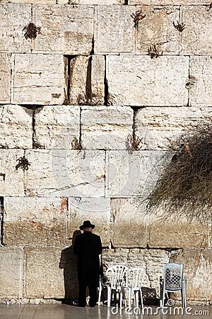 Jewish praying at the wailing wall Editorial Photography