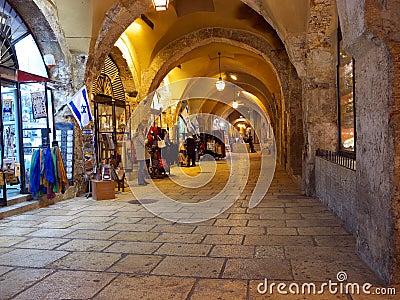 Jewish quarter bazaar in old Jerusalem