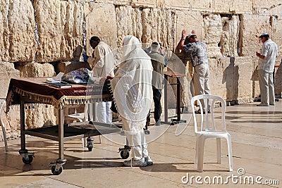 Jewish Worshipers at the Wailing Wall Editorial Image