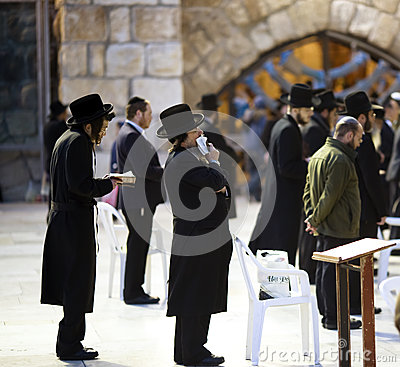 Jews being prayed at the Western Wall Editorial Stock Photo