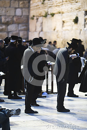 Jews being prayed at the Western Wall Editorial Image