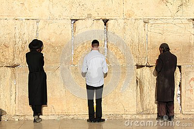 Jews pray at the Western Wall in Jerusalem Editorial Photography