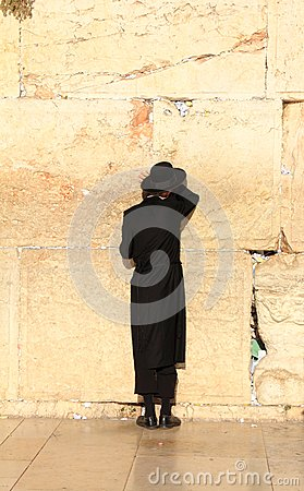 Jews pray at the Western Wall in Jerusalem Editorial Photo