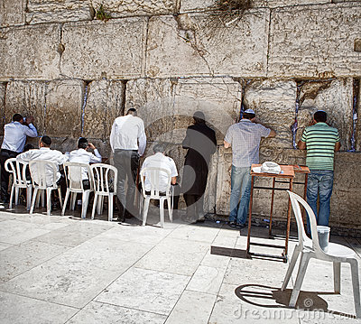 Jews at the wailing western wall Editorial Stock Photo