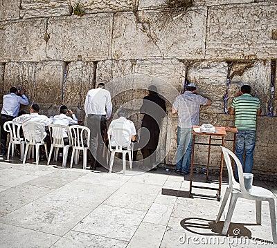 Jews at the wailing western wall Editorial Stock Photo
