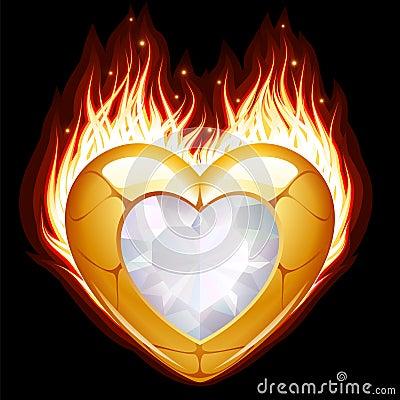 Jóia na forma do coração no incêndio