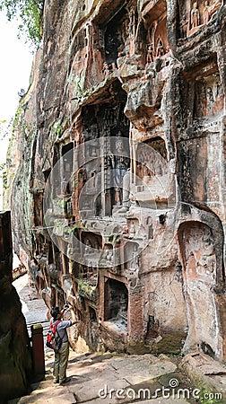 Jiajiang thousand Buddha cliff in sichuan,china Editorial Photo