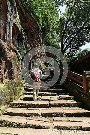 Jiajiang thousand Buddha cliff in sichuan,china Editorial Photography