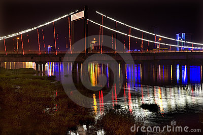 Jiangqun Bridge Night Fushun China