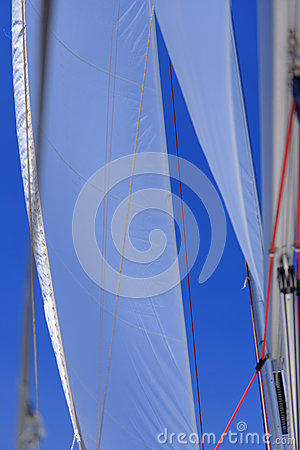 Jib sail and rigging on sailboat