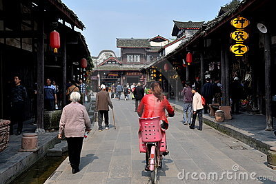 Jie Zi, China: Jiangcheng Street Buildings Editorial Stock Image