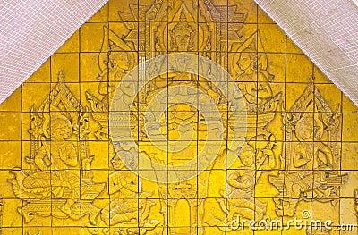 Jigsaw of Buddhism legend on wall