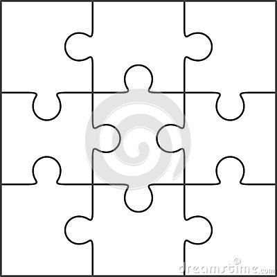 Jigsaw Puzzle Blank Template 36 Pieces Vector Image 55885603 – Blank Puzzle Template