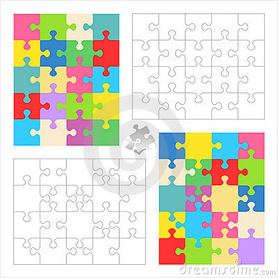 Jigsaw puzzle blank templates, colorful patterns