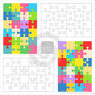 Free Jigsaw Puzzle Blank Templates, Colorful Patterns Royalty Free Stock Photos - 15381268