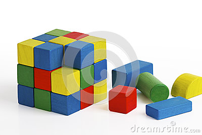 Jigsaw puzzle cube toy, multicolor wooden blocks Editorial Stock Photo
