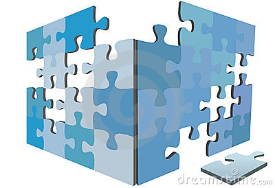 Jigsaw Puzzle pieces 3D solution box