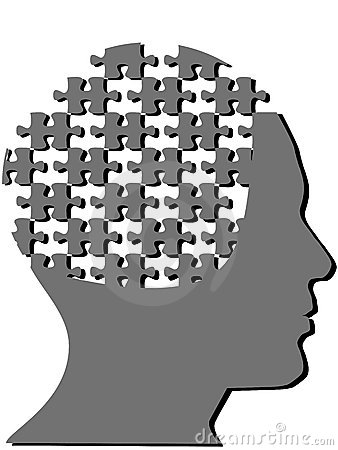 Jigsaw puzzle pieces as profile man mind head
