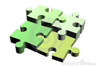 Jigsaw puzzle pieces attached
