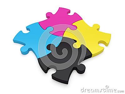 Jigsaw Puzzle Pieces CMYK