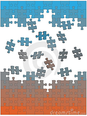 Jigsaw puzzle pieces fall together as solution