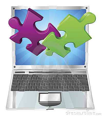 Free Jigsaw Puzzle Pieces Flying Out Of Laptop Computer Stock Image - 19332601