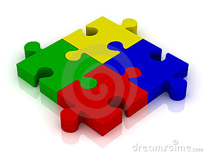 Jigsaw puzzle pieces with reflection