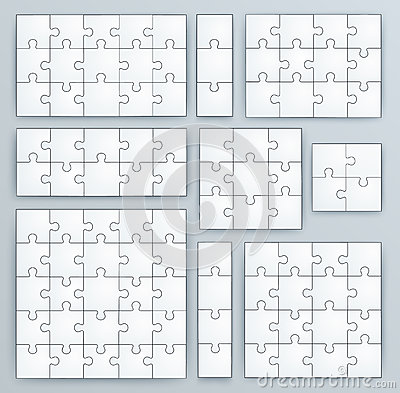 Free Jigsaw Puzzle Templates. Set Of Puzzle Pieces Stock Photo - 37661500