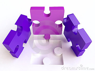 Jigsaw Puzzles Composition in 3D