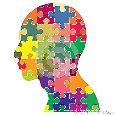 Jigsaws Puzzle Of Human Head Cartoon Vector