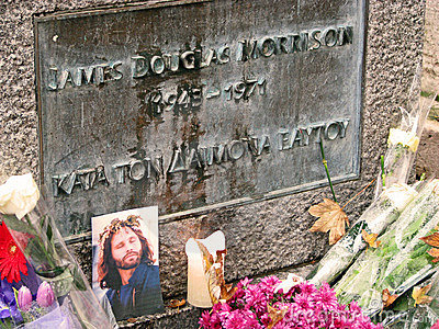 Jim Morrison s grave Editorial Stock Photo