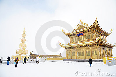 Jinding temple and  Puxian Buddha  of MT.Emei Editorial Photo