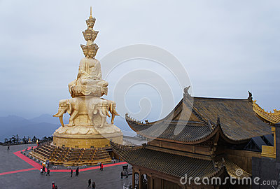Jinding temple and Puxian Buddha of MT.Emei Editorial Photography