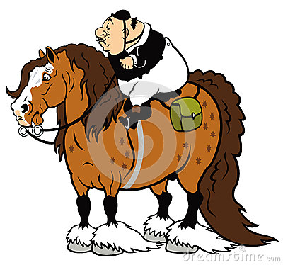 Jinete gordo en caballo pesado