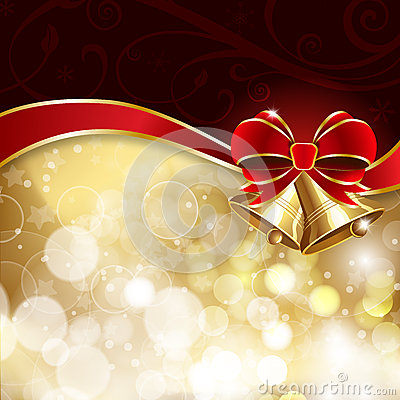 Free Jingle Bells With Red Bow On A Shines Background Royalty Free Stock Image - 27491536