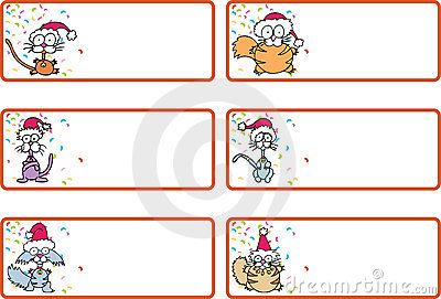 Set of six Christmas gift tags with cats wearing santa hats along with ...