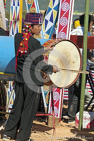 Jingpo Drummer at Festival Dance Editorial Photography